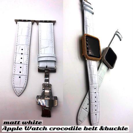 本革ホワイトクロコダイル型押しベルト&バックル