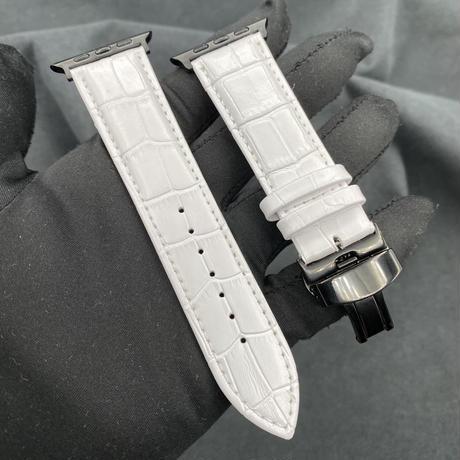 2番 newマットホワイト 本革型押しベルト バタフライバックル付き