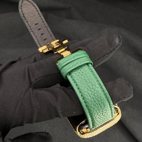 44mm AA3モデルゴールドカスタムベゼル 本革グリーントゴレザーベルト