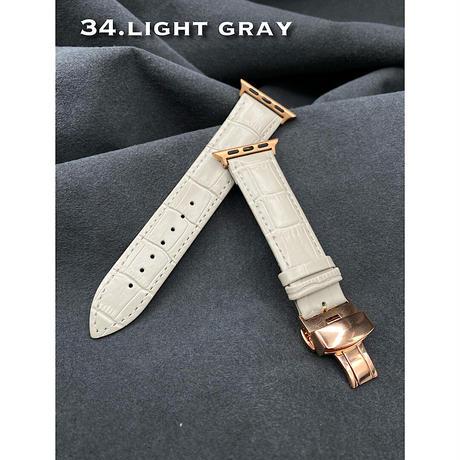 34番 newライトグレー本革型押しベルト バタフライバックル付き
