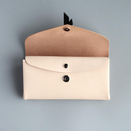 ori long wallet mag [3pocket] #beige x black /    折りロングウォレット マグ#ベージュx黒 [3ポケットver]