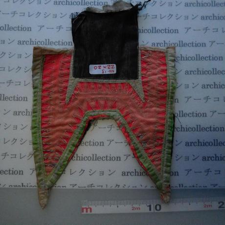 モン族の胸襟飾りWING型 no.13  22x20 cm  Hmong embroidery needlework はぎれ ラオス タイ