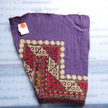 STORES ウズベク族 渦巻き刺繍布NO.9 23X25 CM ウズベキスタン 中央アジア 民族衣装 手仕事 袖 はぎれ