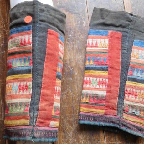 STORES アカ族 ソックス脚絆NO. 22 上部口35x長さ29x下部口30cm タイ ミャンマー北部山地岳 民族衣装 本物 手仕事 刺繍