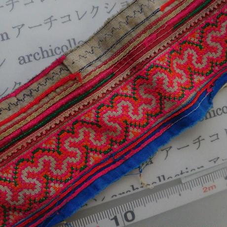 モン族のスカートのボーダー布 no.1  11 x90-100cm 麻布混 Hmong embroidery needlework はぎれ ラオス タイ