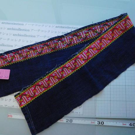 モン族のスカートのボーダー布 no. 48  14x90-100cm 麻布混 Hmong embroidery needlework はぎれ ラオス タイ