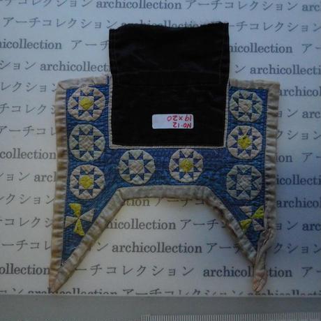 モン族の胸襟飾りWING型 no.12  19x20 cm  Hmong embroidery needlework はぎれ ラオス タイ