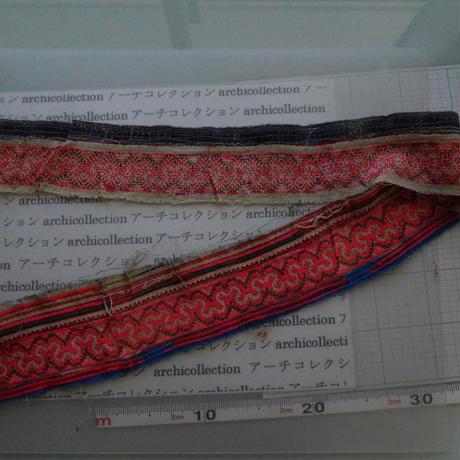モン族のスカートのボーダー布 no.2  9 x90-100cm 麻布混 Hmong embroidery needlework はぎれ ラオス タイ