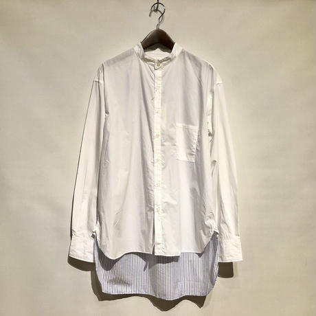 "H.UNIT ""typewriter switching bandcollar L/S shirts"" (white) unisex"