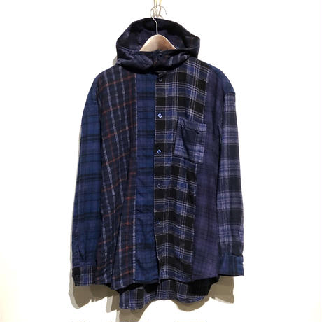 "TigreBrocante""mix flannel hoodie shirts""(purple)unisex"