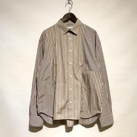 """H.UNIT """"stripe crazy L/S shirts"""" (beige) unisex"""