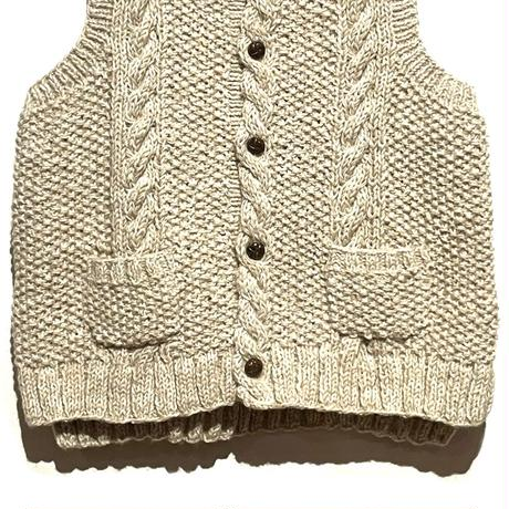 """TigreBrocante""""wool cable knit vest""""(oatmeal)unisex"""