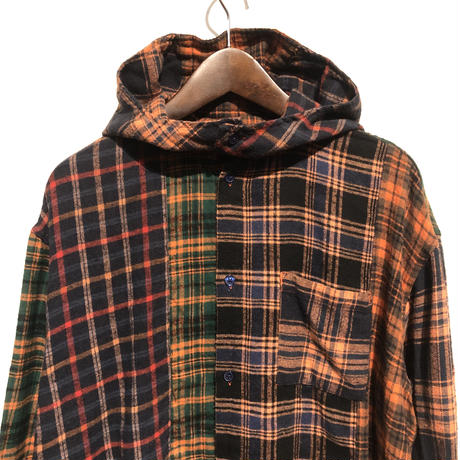 "TigreBrocante""mix flannel hoodie shirts""(orange)unisex"