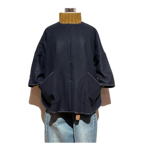 "TigreBrocante""wool nylon poncho jacket""(navy)women's"