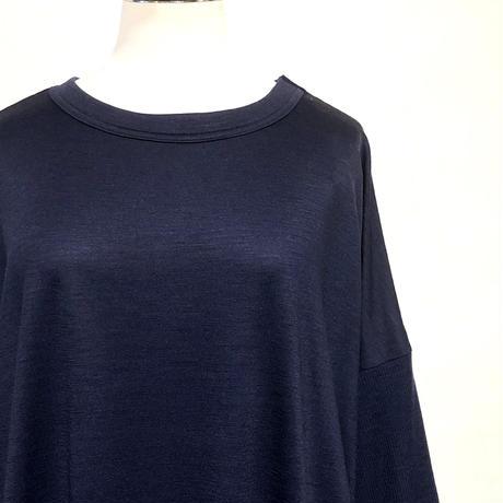 "CAERULA""washable wool jersey crew onepiece""(navy) women's"