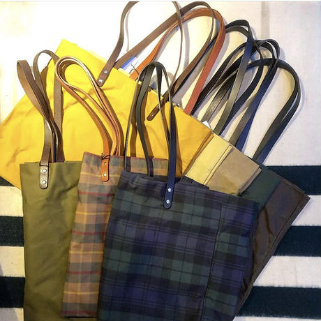 "Kate Sheridan ""GIGA TOTE""(beige tartan check) waxed cotton"