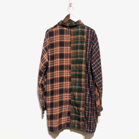 "TigreBrocante""mix flannel check stallman coat""(orange)unisex"