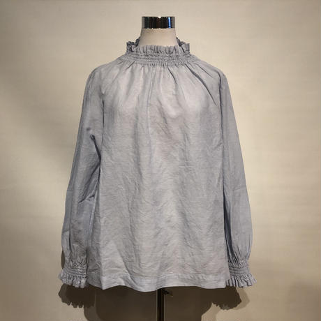 "TigreBrocante""cotton×linen shirring blouse""(sax gray)women's"