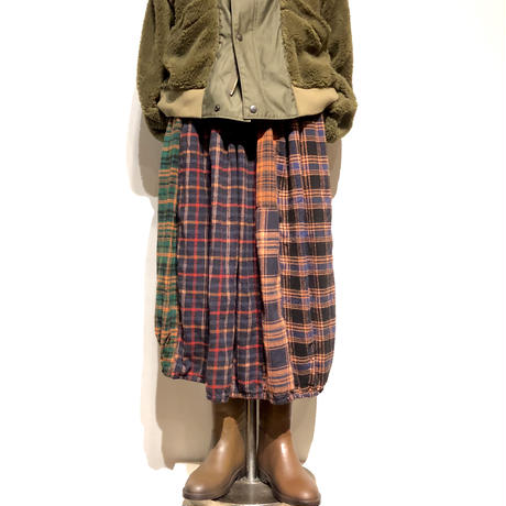 "TigreBrocante""mix flannel check long barrel skirt""(oramge)women's"