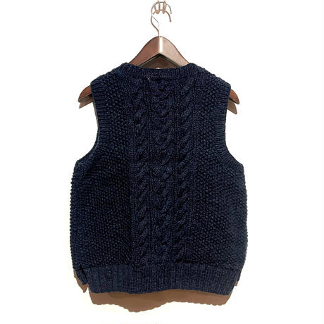 """TigreBrocante""""wool cable knit vest""""(navy)unisex"""