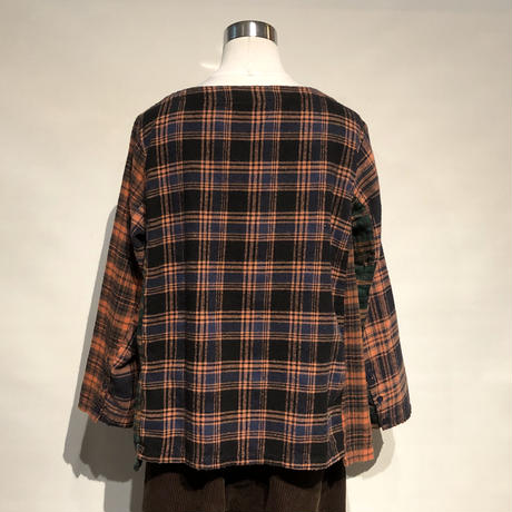"TigreBrocante""mix flannel check boat neck switching blouse""(orange)women's"