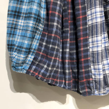 "TigreBrocante""mix flannel check long barrel skirt""(fade)women's"
