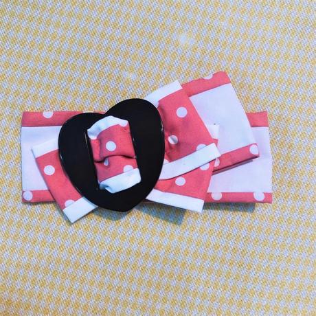 製作日和/せいさくびより DOTリボンクリップ ハート/ピンク L.Dot.01