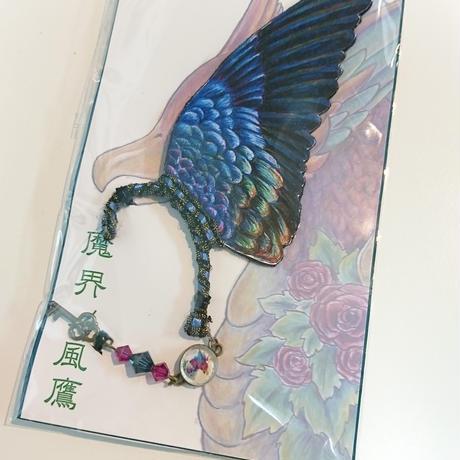 魔界ノ風鷹/マカイノカゼタカ イラスト翼のイヤーフック 濃紺 K32