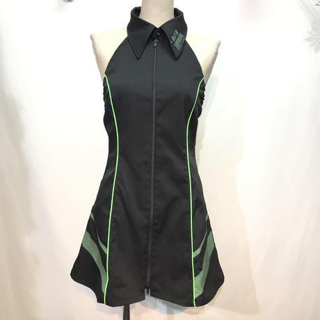 D/3/ディースリー シャツワンピ 黒×緑