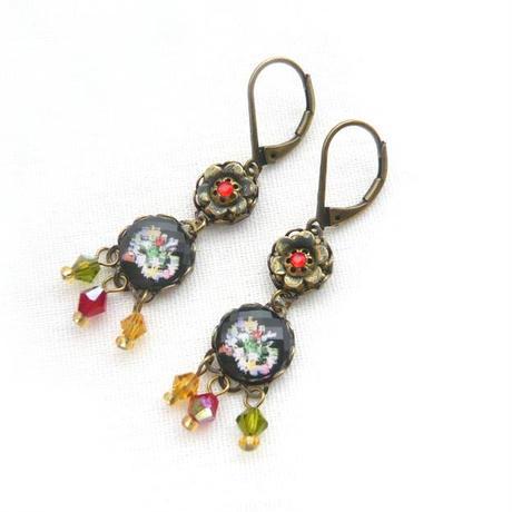 Eva Dar Collections 1426- Earrings  ピアス / フラワー / ブラック