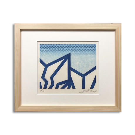 "BAKIBAKI wood cut print ""BLUE LAYER""(額付)"