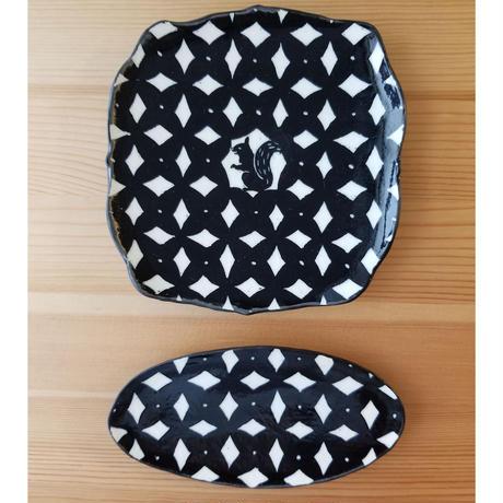 楕円小皿 黒