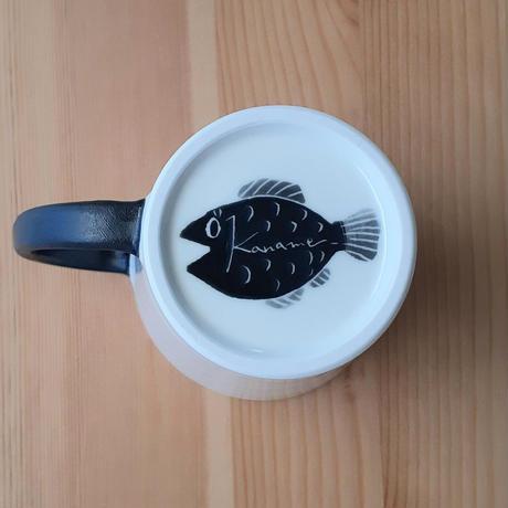ねこ マグカップ小 黒・青(サイン魚)