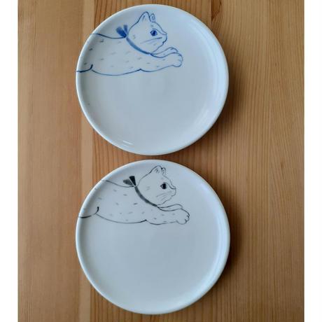ねこ 小皿 2柄 青・黒