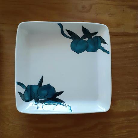 九谷焼 「桃」四角皿