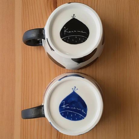マグカップ小 栗  黒・青