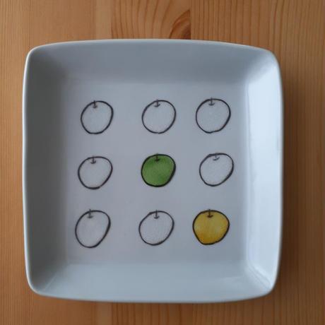 九谷焼 「白りんご」四角皿