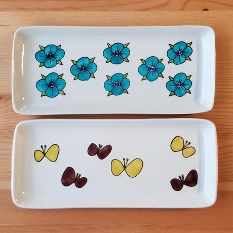 九谷焼 長角皿 オオイヌノフグリ・蝶々