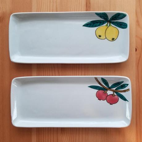 九谷焼 長角皿 すずらん·枇杷·石榴