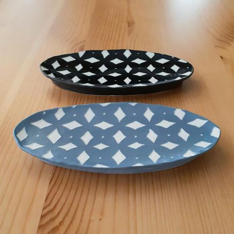 楕円小皿 水色・黒