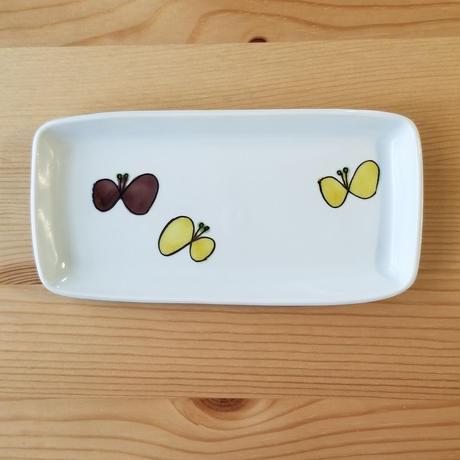 九谷焼 付きだし皿 リボン・蝶々・黄パンジー