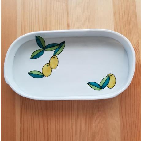 九谷焼 楕円皿 金柑