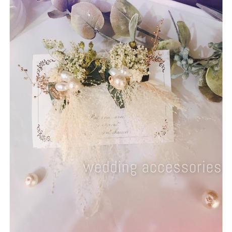 wedding×フラワーブーケイヤリング(白)