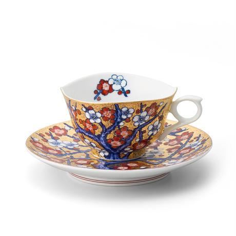 天童 金彩紅白梅碗皿