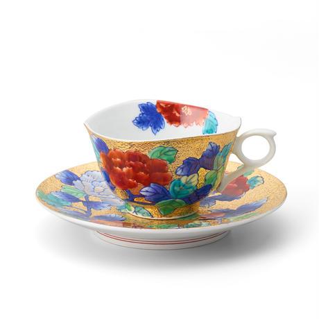 天童 金彩牡丹碗皿