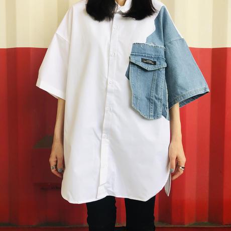 デニムドッキングオーバーサイズシャツ