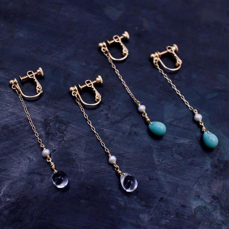 1485 チェコガラスと淡水パールのロングイヤリング / F.yamaneko