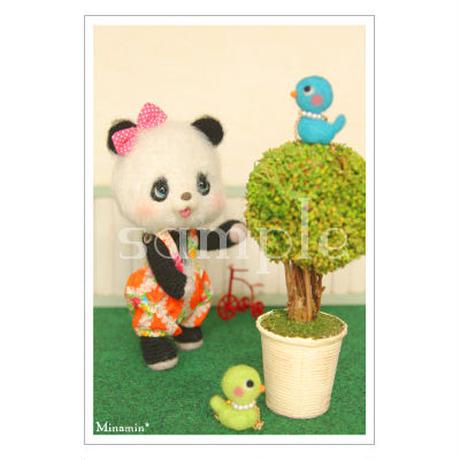 #96 パンダ木と小鳥 ポストカード Minamin