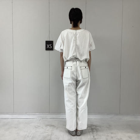 【 artepovera-2021summer08 】デニム配色ステッチ バギーパンツ