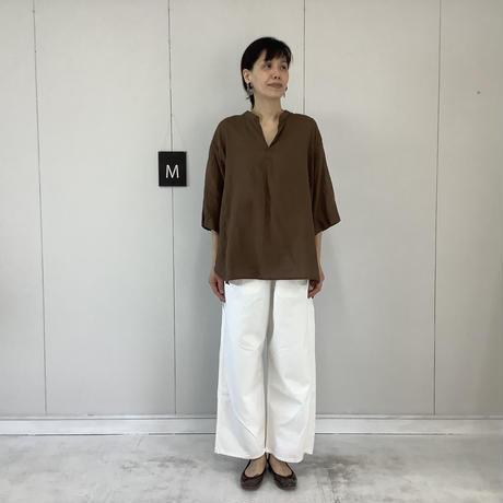 【 artepovera-2021summer31  】リネン染め スタンドシャツ